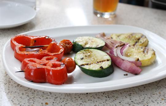 Veggie skewers.