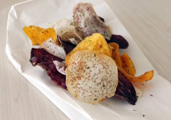 Taro and sweet potato chips fried to order for you.