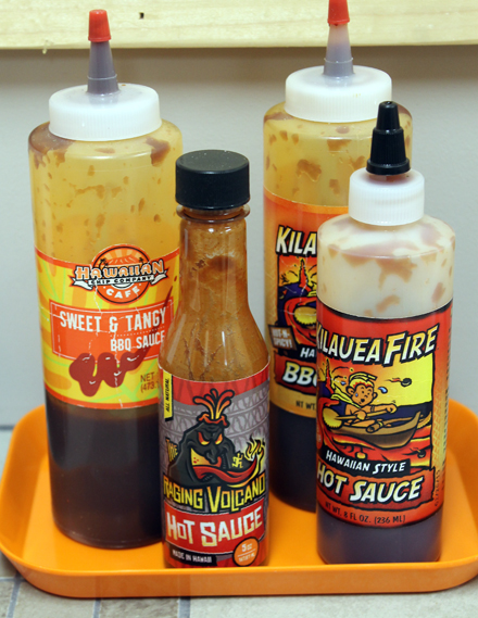 Hot sauces to squirt on your fresh chips.