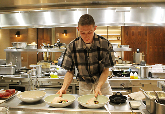 We got to watch line cook Gage Smit all night, as we sat at the counter right in front of his station.