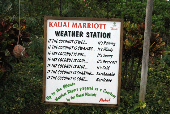 A touch of humor at the Kauai Marriott Resort on Kalapaki Beach.
