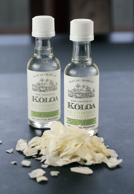 Koloa Coconut Rum mini bottles -- a souvenir from my recent trip to Kauai.