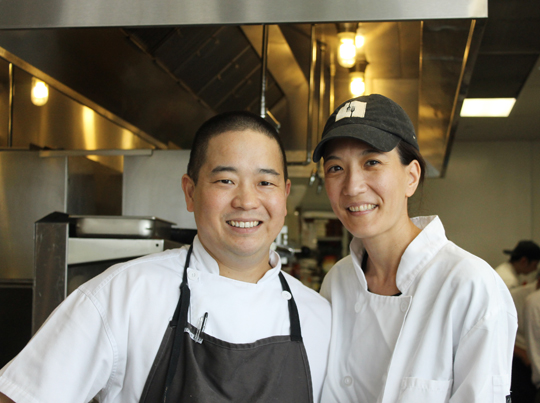 Chef Wade Ueoka and his wife, Pastry Chef Michelle Karr-Ueoka.