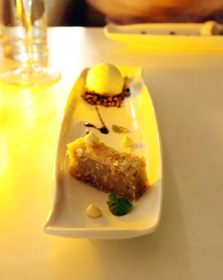 Coconut custard mochi cake.