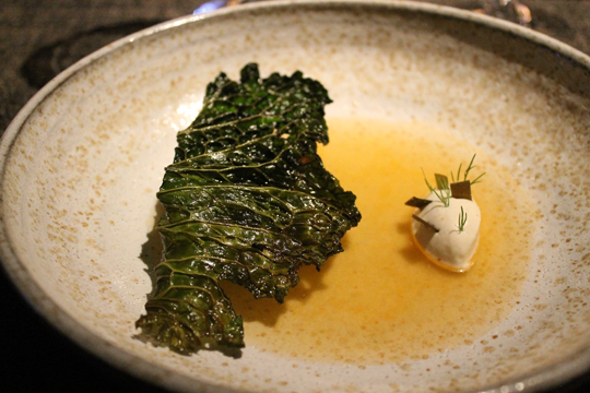 Crisp cabbage with anchovy bouillon.