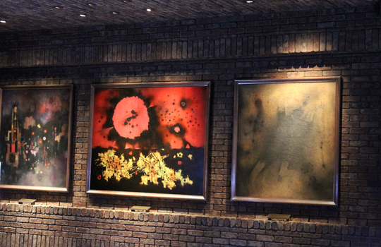Hiroshima paintings that inspired the look of the restaurant.