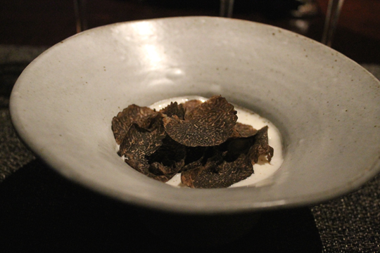 Jidori egg yolk smothered with black truffles.