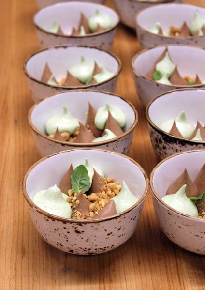 Milk chocolate cream with basil meringue and hazelnut crumble. (Photo by Carolyn Jung)