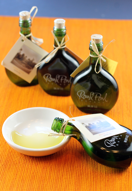 Mini bottles of the 2014 Round Pond olive oil releases.