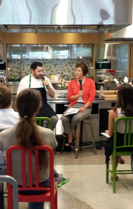 Yours truly, interviewing Pastry Chef Bill Corbett, at Google headquarters. (Photo courtesy of Google)