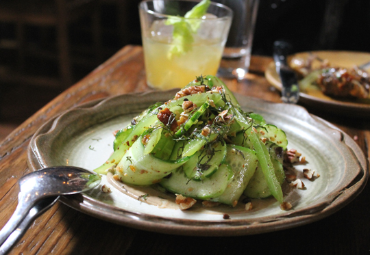 Mediterranean cucumbers with shiso.