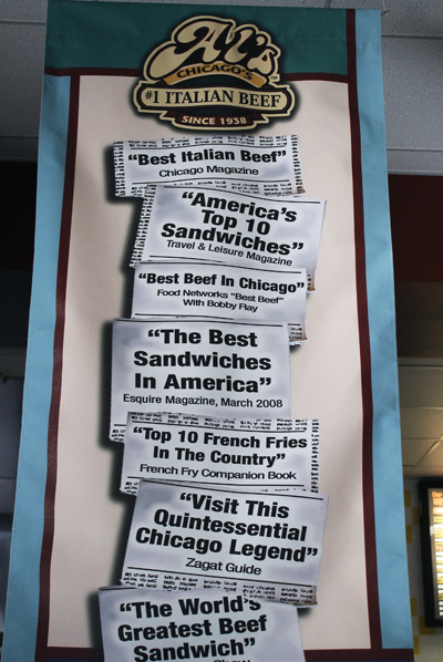 Banners inside the eatery.