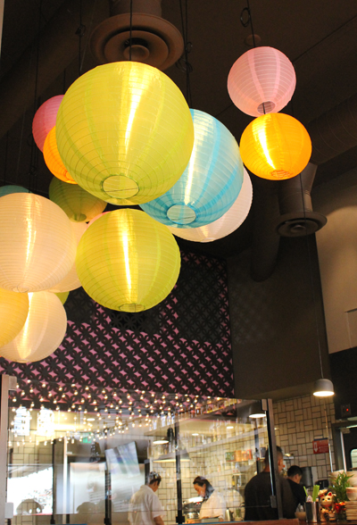 Paper lanterns mimic the vibe of an Asian street market.