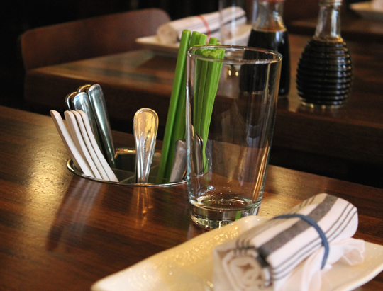 Silverware and chopsticks to conveniently help yourself to at each table.