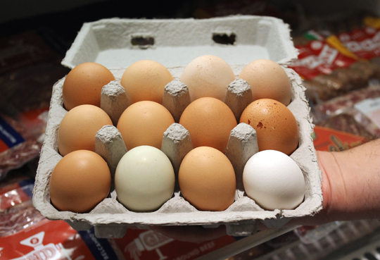 The distinctive farm eggs.