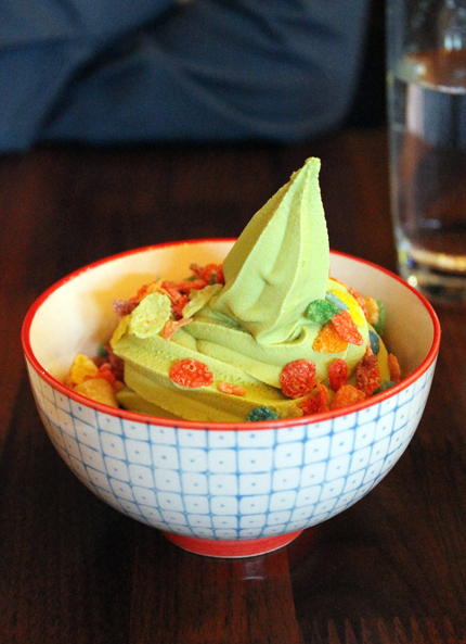 A delightful matcha soft-serve.