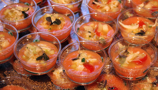 Absinthe's melon gazpacho with Dungeness crab.