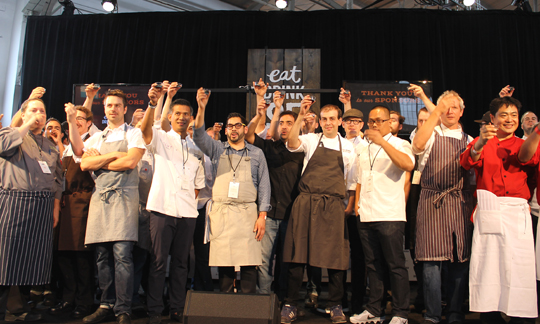 How many chefs can you name? Friday's group toasts the start of the event with shots of Fernet, of course.