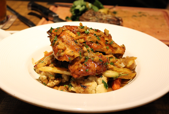 Roasted garlic chicken -- a new item at California Pizza Kitchen at Valley Fair shopping center.