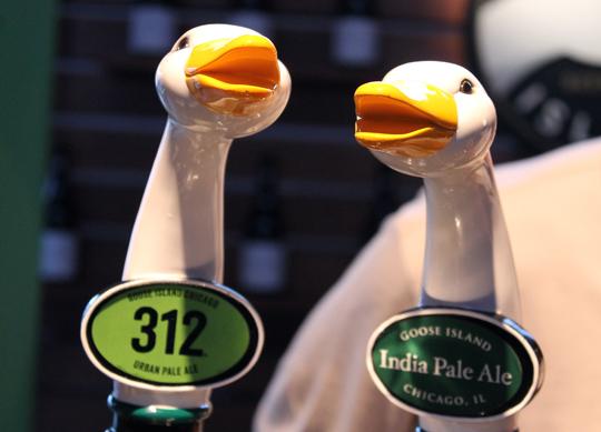 Goose Island beer taps.