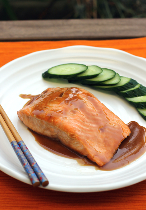 Grilled salmon with an Asian-style glaze.