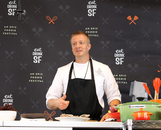Chef Justin Cogley of Aubergine in Carmel doing a demo.