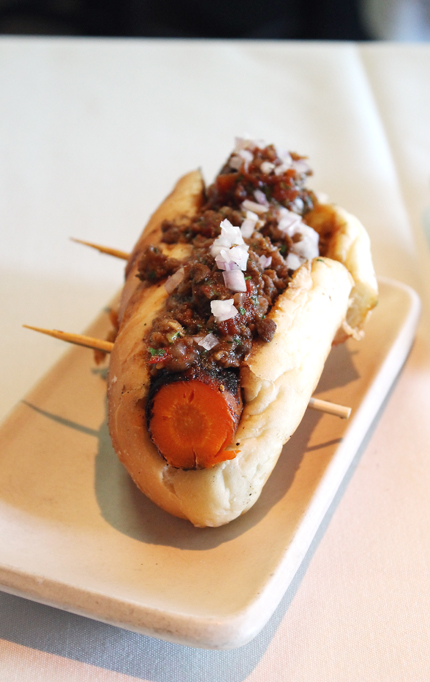 "The very clever carrot ""hot dog'' at Press in St. Helena."