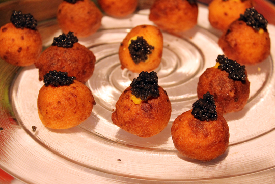 Corn-ricotta doughnuts with caviar from Waterbar.
