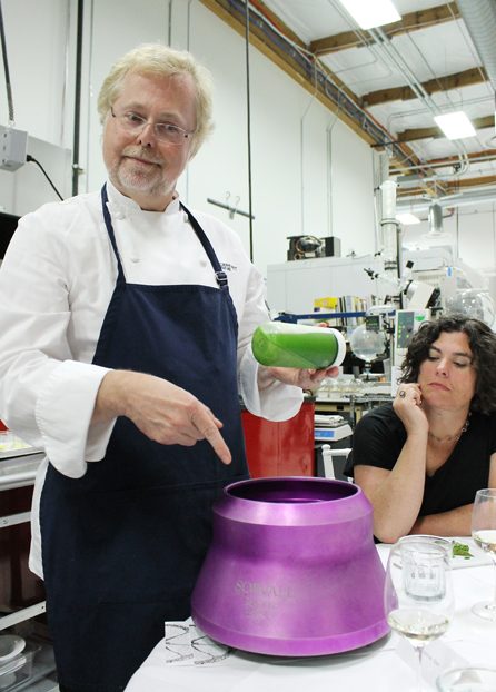 Myhrvold delights in telling everyone how the pea dish was created. Chef Renee Erickson looks on with disbelief.