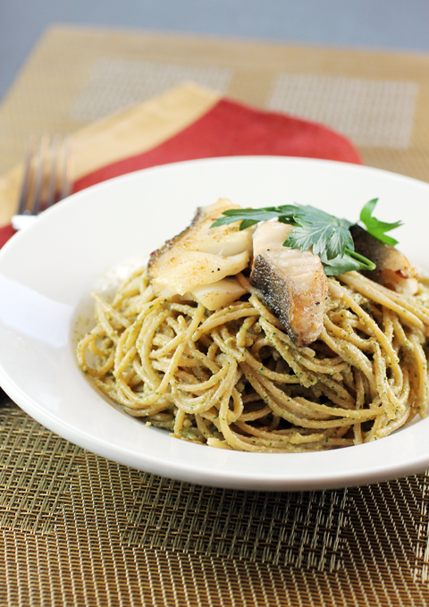 Crisp red snapper and a creamy, nutty Italian agliata sauce make this pasta something special.