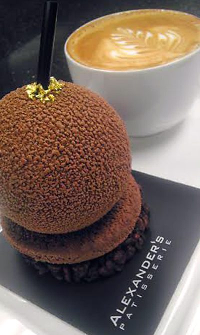 """The """"chocolate burger'' at Alexander's Patisserie. (Photo courtesy of the bakery)"""