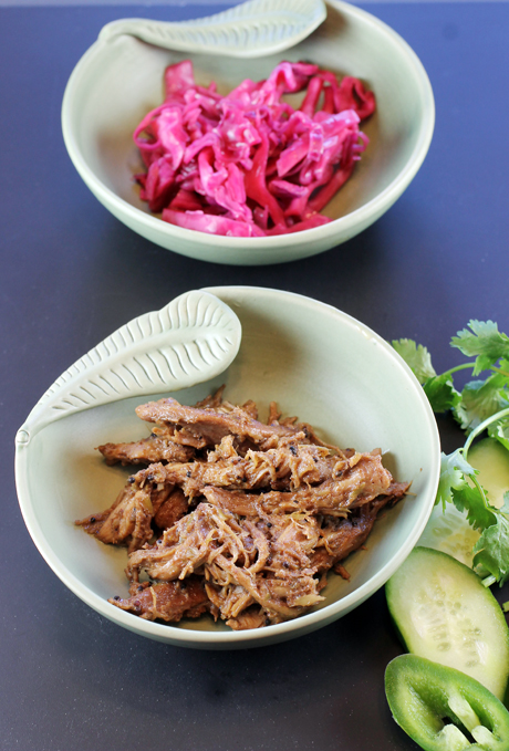 Banh mi fixiings: Sri Lankan Black Curry Chicken (foreground) and Citrusy Red Cabbage Pickles (back).