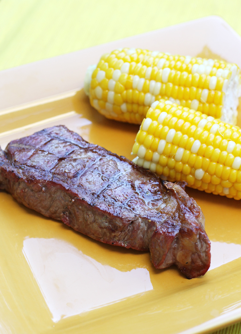 Bently Ranch New York steak right off the grill.