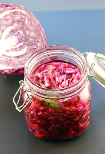 The freshly made pickled cabbage.