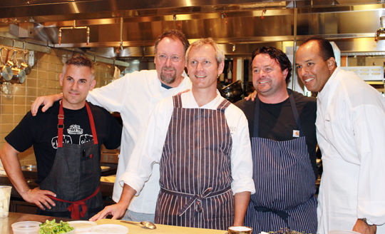 The guest chefs in the kitchen (L to R): David Bazirgan, Patrick Mulvaney, Mark Dommen, Douglas Keane and Victor Scargle.