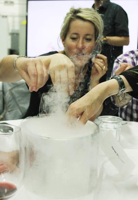 What would a Modernist Cuisine dinner be without a little liquid nitrogen action going on? Chef Naomi Pomeroy gets in on the fun.