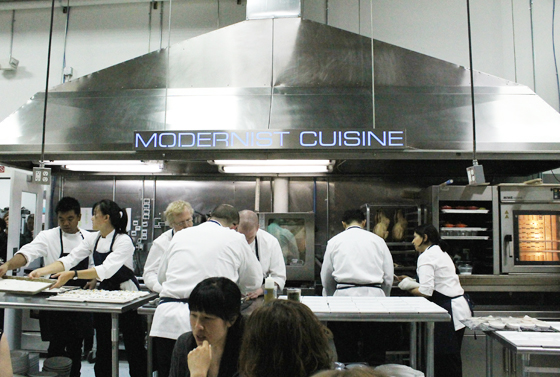 The Modernist Cuisine team hard at work on the one-of-a-kind dinner.