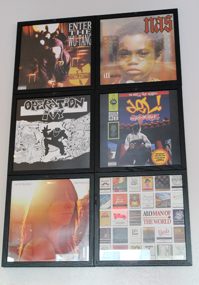 Old album covers grace the walls.