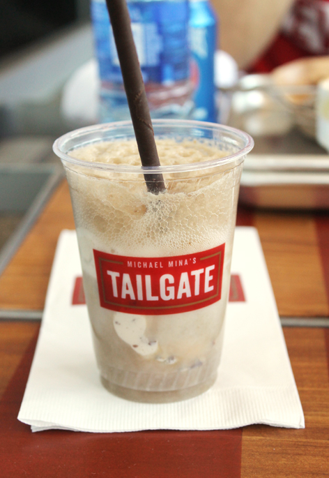 Liquid nitrogen butter pecan ice cream floats at Michael Mina's tailgate at Levi's Stadium.