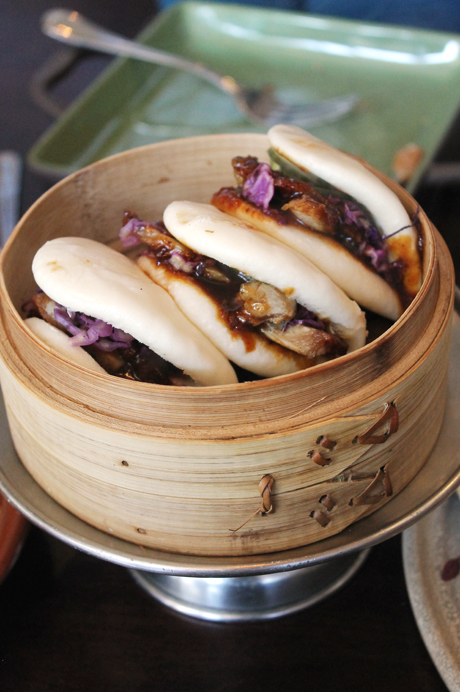 Pork belly buns arrive in their own little steamer at Mixx in Mountain View.