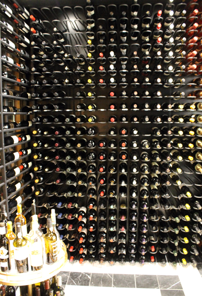 The focal-point wine cellar.