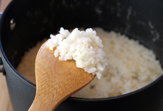 The cooked arborio rice.