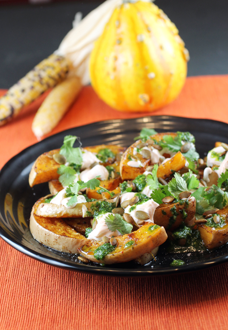 Butternut squash gets drizzled with Sriracha-spiked yogurt and more.