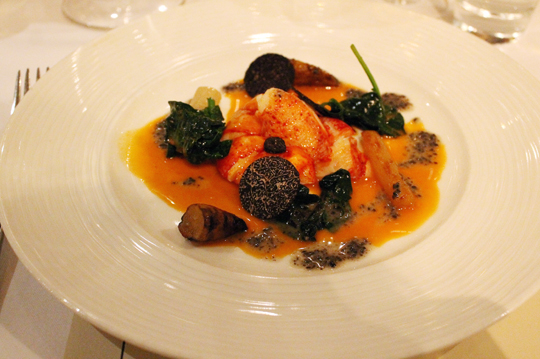 Chef Esnault's butter-poached lobster, salsify, spinach and black truffle dish at the grand La Toque dinner.
