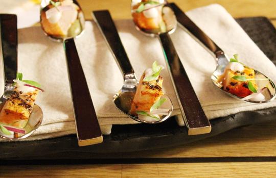 Spoonfuls of Kona Kampachi.