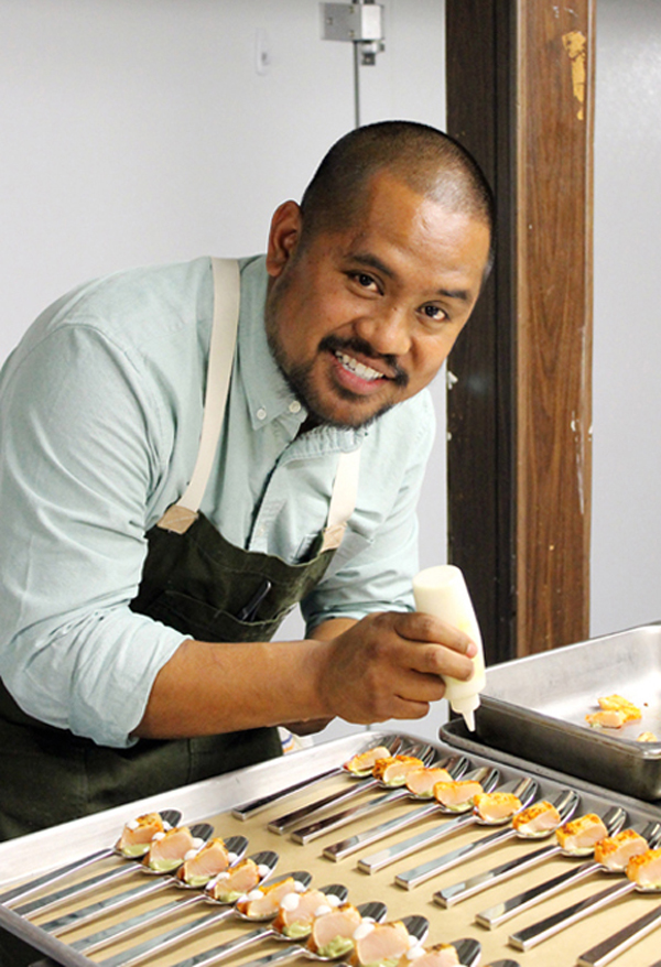 """Top Chef'' finalist Sheldon Simeon of Maui plates an appetizer at Hapa Ramen."