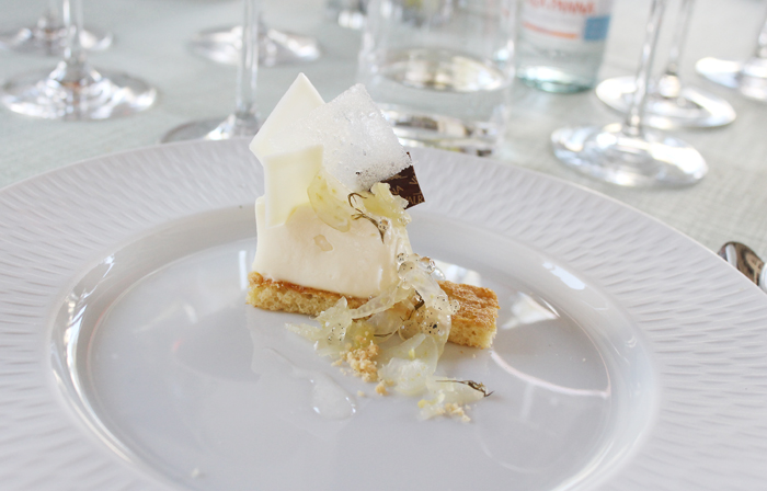 White chocolate mousse with candied fennel and lemon by Valrhona Chef Derek Poirier.