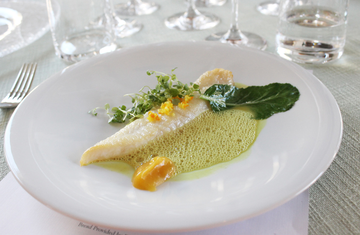 Fish in a delicate cardamom curry sauce with apricots and orange. From Roellinger.