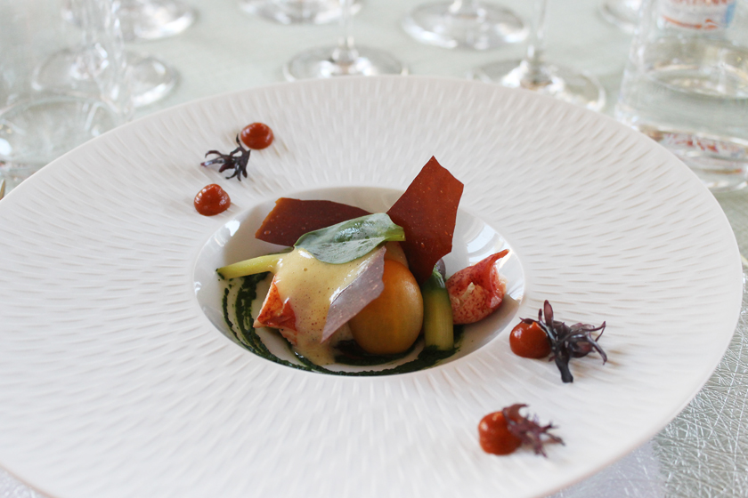 Lobster with Champagne sabayon, pickled seaweed and beach rose hips puree by Francis Wolf of Le Hatley Restaurant at Manor Hovey, as presented at GourmetFest.