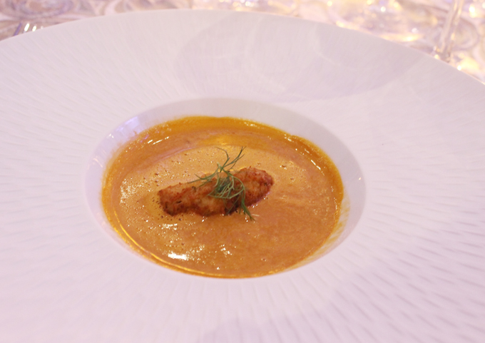 Cartwright's Dungeness crab and Maine lobster bisque with crab and fennel fritter.